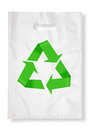 Plastic bag on white with recycle symbol. Stock Images