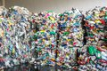 stock image of  Plastic bales at the waste processing plant. Separate garbage collection. Recycling and storage of waste for further disposal.