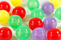 Plastic balls little red yellow green and mauve Stock Image