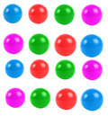 Plastic balls set of colorful isolated over white Stock Photography
