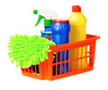 Plastic basket orange with cleaning supplies isolated on white background Stock Photos