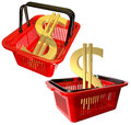 Plastic basket for shopping Stock Photography