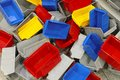 Plastic bins and tubs big bunch of colorful sorting Stock Photography