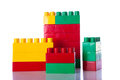 Plastic blocks w clipping path on white background Stock Photos