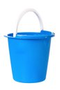 Plastic blue bucket isolated white background Royalty Free Stock Images