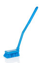 Plastic blue toilet brush isolated over white background Stock Images