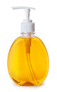 Plastic bottle with liquid soap  on white background Royalty Free Stock Photo