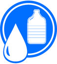 Plastic bottle and water drop icon with Royalty Free Stock Photos