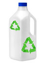 Plastic bottle on white with recycle symbol. Stock Photography