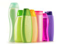 Plastic bottles of body care and beauty products Royalty Free Stock Photos