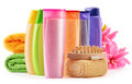 Plastic bottles of body care and beauty products composition with Royalty Free Stock Photos