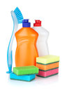 Plastic bottles of cleaning products sponges and brush isolated on white background Stock Image