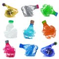 Plastic bottles collage in white background Royalty Free Stock Photo