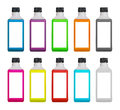 Plastic bottles with colored liquid inside set and blank label isolated on white background Royalty Free Stock Photo