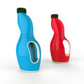 Plastic bottles colored on white background Stock Photos