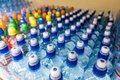 Plastic bottles, colorful caps. Royalty Free Stock Photo