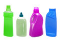 Plastic bottles with detergent isolated on white Stock Image