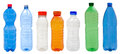 Plastic bottles multicolored isolated on white background Royalty Free Stock Photo