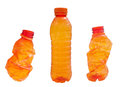 Plastic bottles orange isolated on white background Royalty Free Stock Images