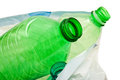 Plastic bottles in the trash on white background Stock Photography
