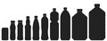 Plastic bottles of various sizes. Set of vector illustrations. B Royalty Free Stock Photo