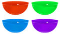 Plastic bowls four various colors gradient mesh used Stock Photo