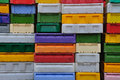 Plastic boxes quite a lot of stacked colorful Royalty Free Stock Images