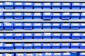 Plastic boxes in storage stand Royalty Free Stock Photo