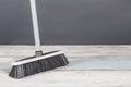 Plastic Broom Gray Background