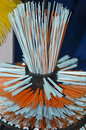 Plastic brush detail of orange and light blue bristles Royalty Free Stock Photos
