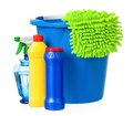 Plastic bucket cleaning supplies isolated white background Stock Photo