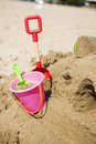 Plastic bucket with shovel Royalty Free Stock Photo