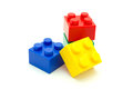 Plastic building blocks on white background toy Royalty Free Stock Photo