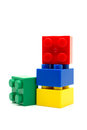 Plastic building blocks on white background toy Stock Images