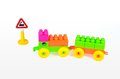 Plastic building blocks on white background train in Stock Photography