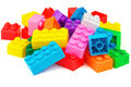 Plastic building colorful blocks on white background Royalty Free Stock Image