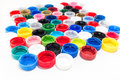 Plastic caps from pet bottles. Recycle. Royalty Free Stock Photo