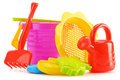 Plastic children toys for playing in sandpit or on a beach white Stock Images