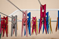 Plastic clothes peg on the drying rack in all colors a clothespin us english or uk english is a fastener used to hang Stock Photo