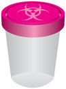 Plastic container with a biohazard symbol