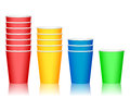 Plastic cups color coffee cup set on a white background Royalty Free Stock Images