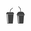 Plastic cups icon. Drink, juice or smoothies