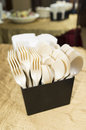 Plastic cutlery many folk and spoon in a box container Royalty Free Stock Image