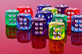 Plastic dice a closeup of colorful Royalty Free Stock Photography