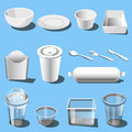 Plastic dishware disposable tableware vector icons