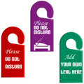 Plastic door hangers with do not disturb sign Stock Image