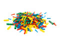 Plastic dowel pin pile isolated four color over white background Stock Image