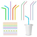Plastic fastfood cup for beverages with straw. Royalty Free Stock Photo