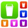 Plastic flip lid bin set color collection Royalty Free Stock Photo