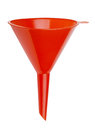 Plastic funnel red isolated on white Royalty Free Stock Photography